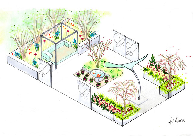 Isometric Drawing of the Stinrgay Garden Designed by Julie Moore