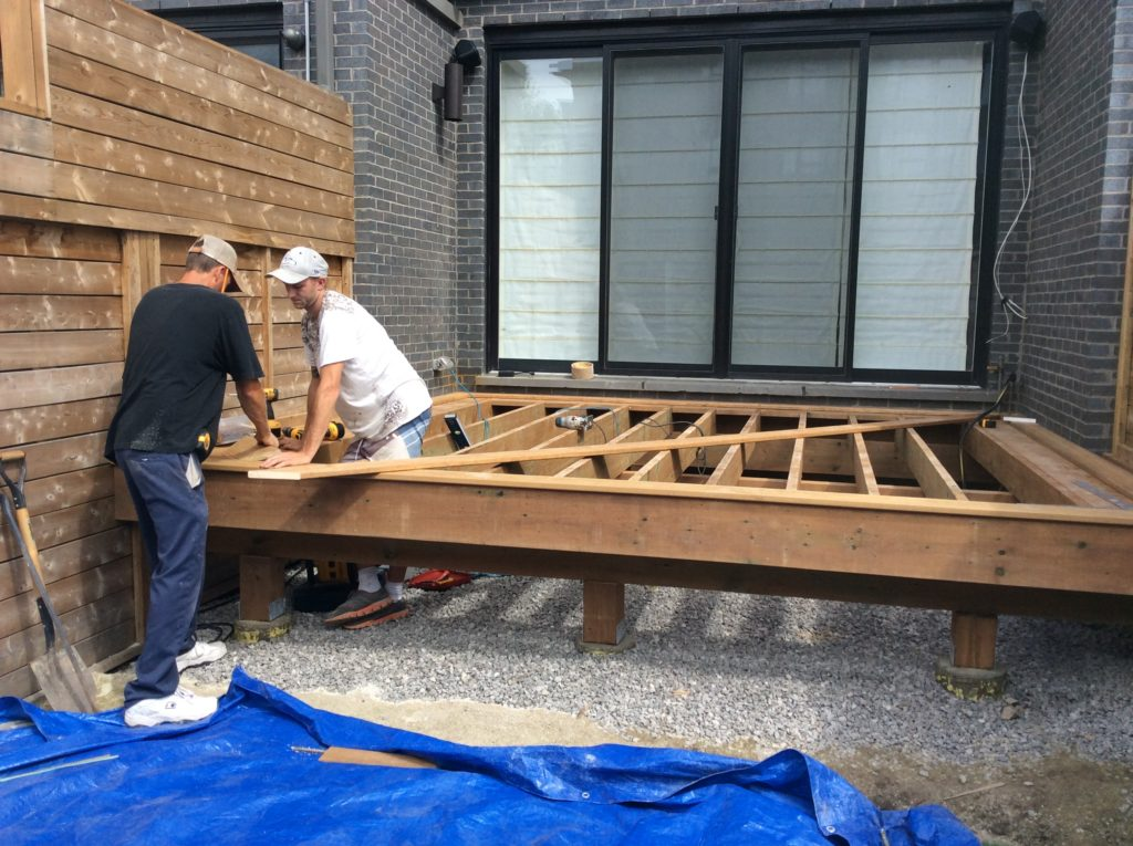 Building the new spacious deck 14 X 12, 45 degree angle